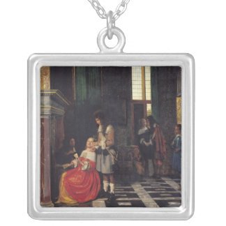 The Card Players, c.1663-65 Square Pendant Necklace