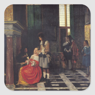 The Card Players, c.1663-65 Square Sticker