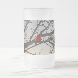 The Cardinal In The Morning Frosted Glass Beer Mug