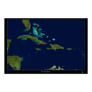 The Caribbean satellite poster photo map