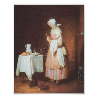 The caring maid by Jean Chardin Print