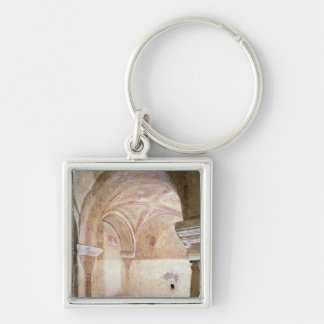The Carolingian frescoes in the inner crypt Silver-Colored Square Keychain