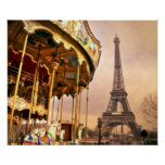 The Carousel and The Eiffel Tower Poster