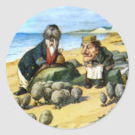The Carpenter and the Walrus Consider Oysters Round Stickers