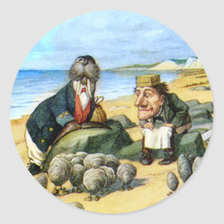 The Carpenter and the Walrus in Wonderland Classic Round Sticker
