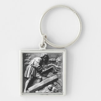 The Carpenter, detail from an altarpiece Silver-Colored Square Keychain