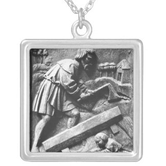 The Carpenter, detail from an altarpiece Silver Plated Necklace