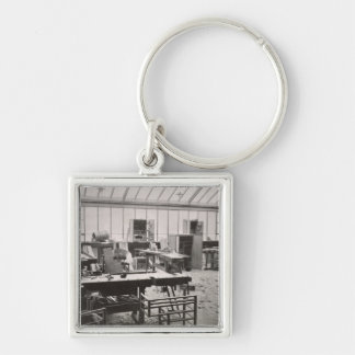 The Carpenter's Workshop, from the Workshops of th Silver-Colored Square Keychain
