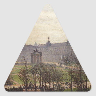 The Carrousel, Autumn, Morning by Camille Pissarro Triangle Sticker