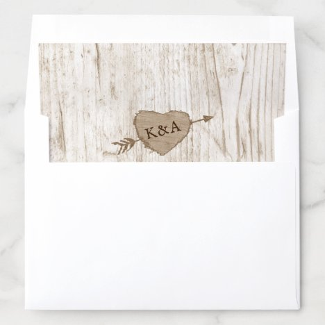 The Carved Heart Tree Wedding Collection Envelope Liner