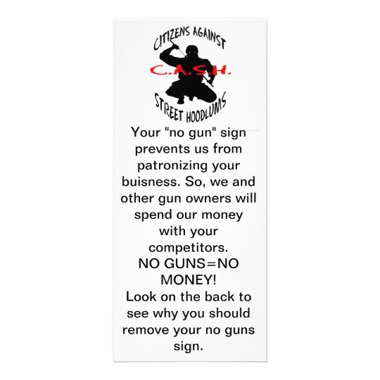 "the cash logo, Your ""no gun"" sign prevents us f... Rack Card"