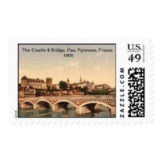 The Castle And Bridge, Pau, Pyrenees, France 1905 Postage