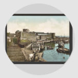 The Castle from swing bridge, Brest, France vintag Round Sticker