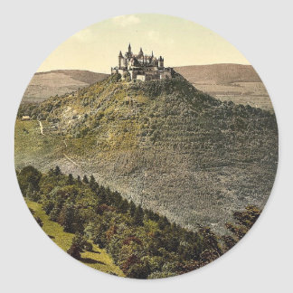 The castle, Hohenzollern, Germany rare Photochrom Classic Round Sticker