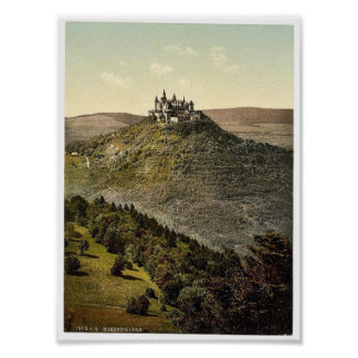 The castle, Hohenzollern, Germany rare Photochrom Poster