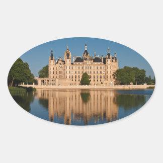 The castle in Schwerin in Germany Oval Sticker