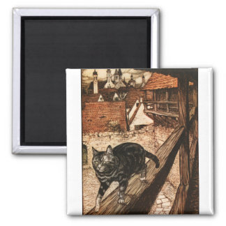 The Cat and Mouse in Partnership 2 Inch Square Magnet