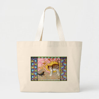 The Cat and the Crow Artwork Large Tote Bag