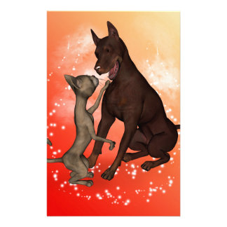 The cat and the dog customized stationery