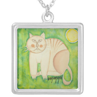 the cat and the moon silver plated necklace