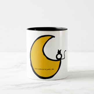 The cat and the moon Two-Tone coffee mug