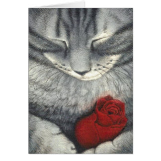 The Cat and the Rosebud Pet Sympathy Card