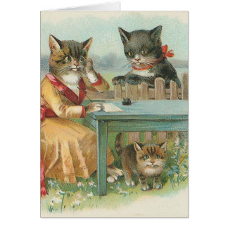 """The Cat Family"" Vintage Greeting Card"