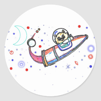 The Cat Flew to the Moon ! Classic Round Sticker