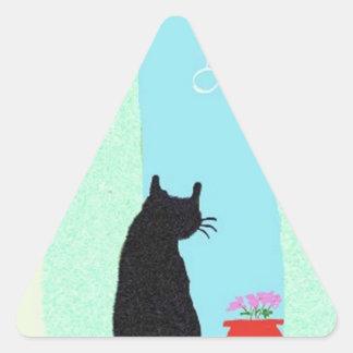 The Cat In The Window Triangle Sticker