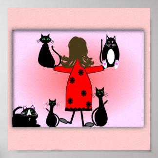 """The Cat Lady"" Art Print, Black Cats Design~~ Poster"