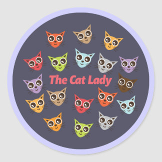 The Cat Lady Classic Round Sticker