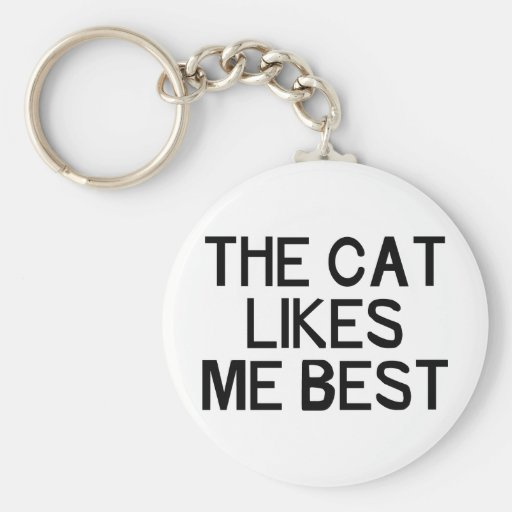 The Cat Likes Me Basic Round Button Keychain