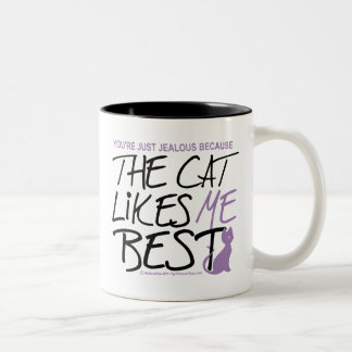The Cat Likes Me Best Two-Tone Coffee Mug