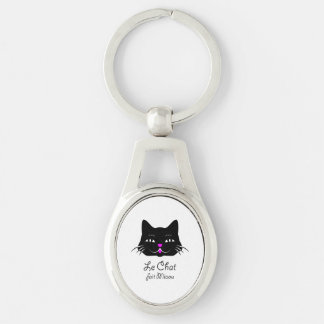 The Cat Says Meow!  Cute French Kitten Cartoon Keychain