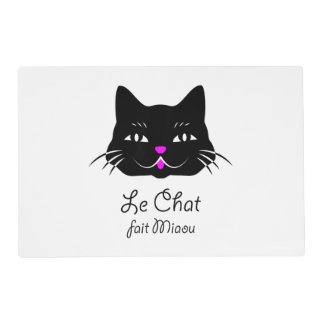 The Cat Says Meow!  Cute French Kitten Cartoon Laminated Place Mat