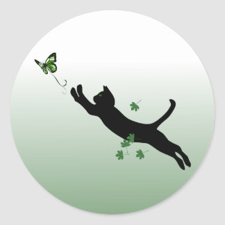 The Cat & The Butterfly Classic Round Sticker