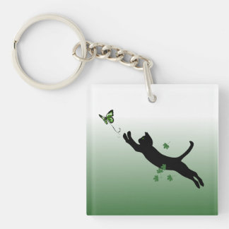 The Cat & The Butterfly Double-Sided Square Acrylic Keychain