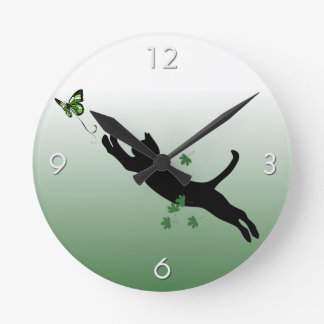 The Cat & The Butterfly Round Clock
