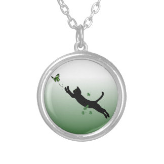 The Cat & The Butterfly Silver Plated Necklace