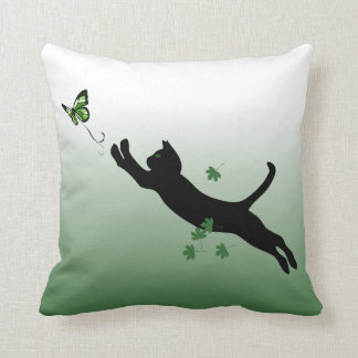 The Cat & The Butterfly Throw Pillow