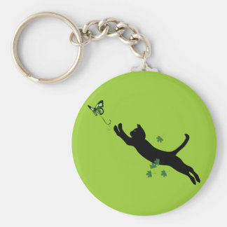 The Cat & The Butterfly Version 2 Basic Round Button Keychain