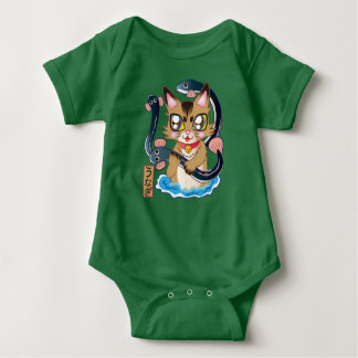 The cat ♪ which discovers the eel baby bodysuit
