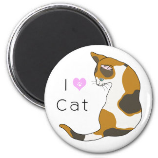 The cat which turns around (tortoise-shell cat) 2 inch round magnet