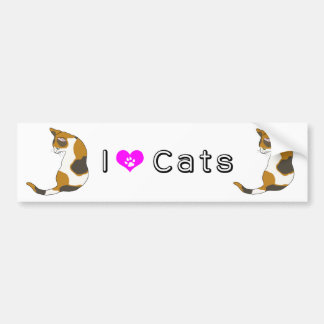 The cat which turns around (tortoise-shell cat) car bumper sticker