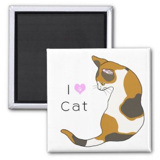 The cat which turns around (tortoise-shell cat) 2 inch square magnet