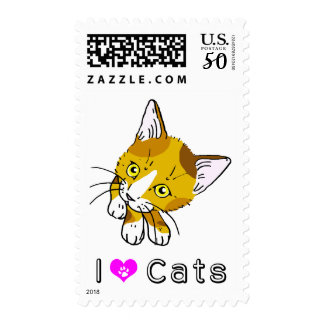 The cat which turns around (tortoise-shell cat) postage