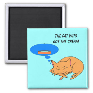 The Cat who got the Cream 2 Inch Square Magnet