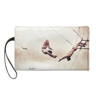 """The Catch"" trapeze vintage sepia image Wristlet"