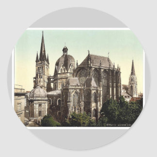 The cathedral, Aachen, the Rhine, Germany rare Pho Round Stickers