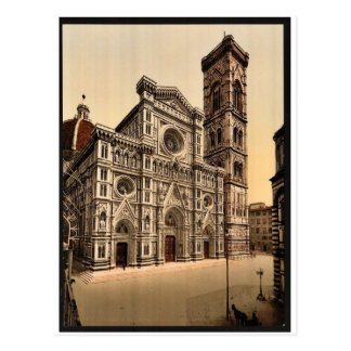 The Cathedral and campanile, Florence, Italy vinta Postcard